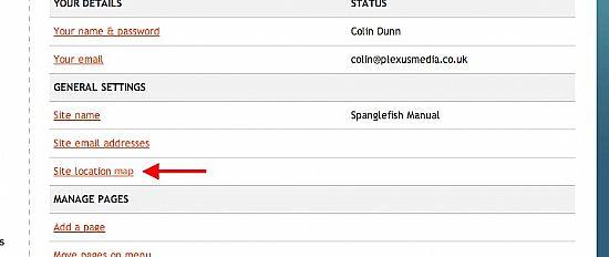 spanglefish - site settings location map