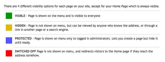 page visibility controls - spanglefish