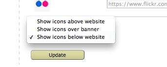 choose icon display location