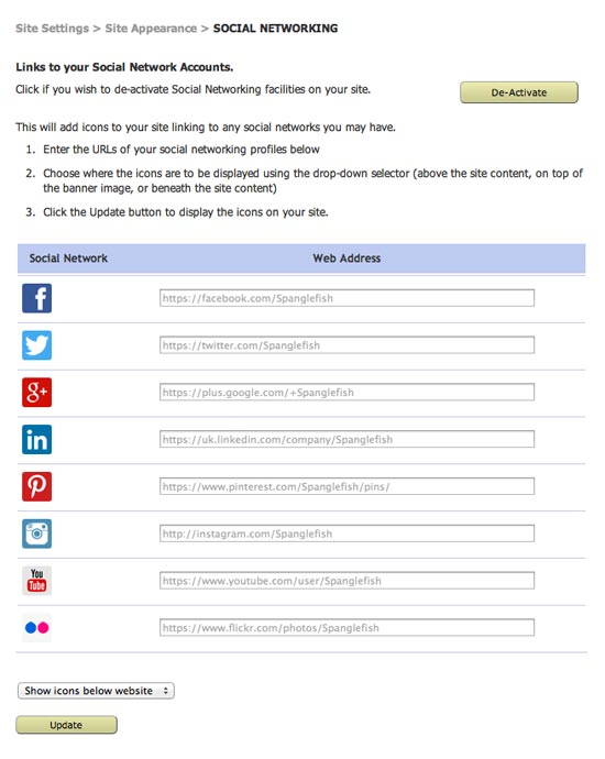 social network icons list