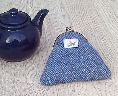 harris tweed purse in blue herringbone by roses workshop