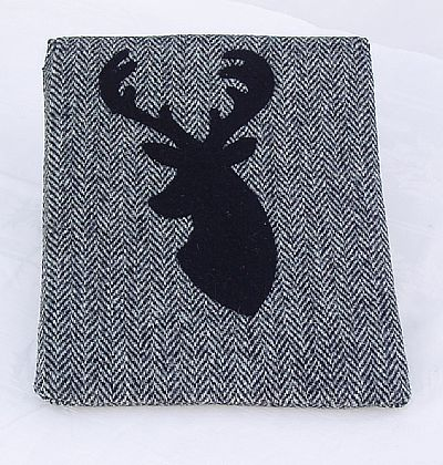 harris tweed tablet case in grey herringbone with stag's head by roses workshop