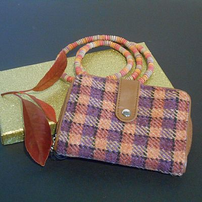 harris tweed purse orange and purple by roses workshop