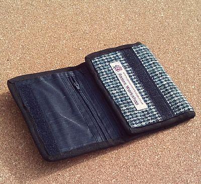blue green harris tweed wallet