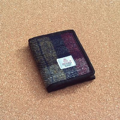 harris tweed wallet in wine red and olive green by roses workshop
