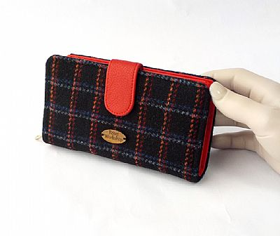 harris tweed large purse in black and red by roses workshop