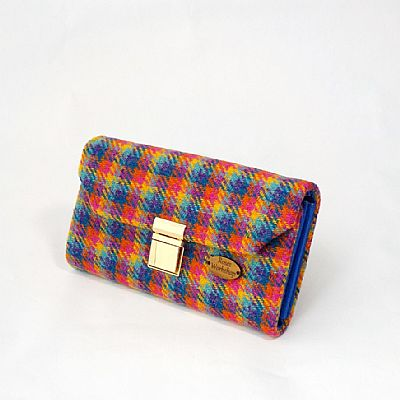 harris tweed large purse in bright multicoloured design by roses workshop