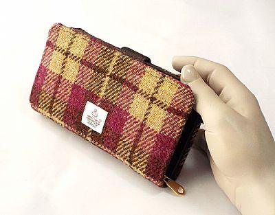 harris tweed purse in pink cream and brown by roses workshop
