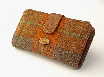 harris tweed large purse in orange and brown by roses workshop