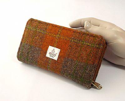 orange and brown harris tweed purse by roses workshop