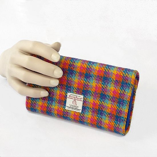 large multicolour harris tweed purse by roses workshop