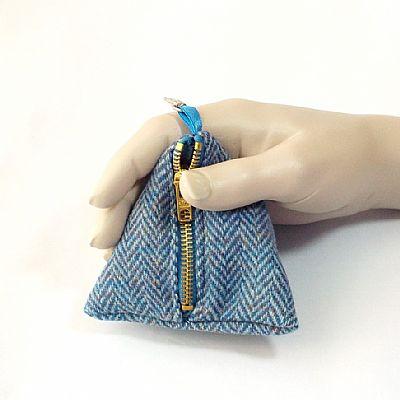 blue herringbone harris tweed pyramid purse by roses workshop