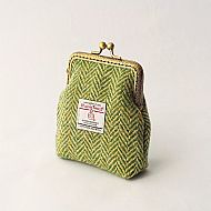 Harris tweed kiss clasp purse green herringbone