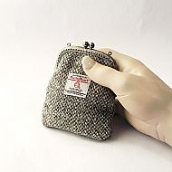 Harris tweed kiss clasp purse grey herringbone