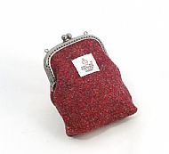 Harris tweed kiss clasp purse red grey herringbone
