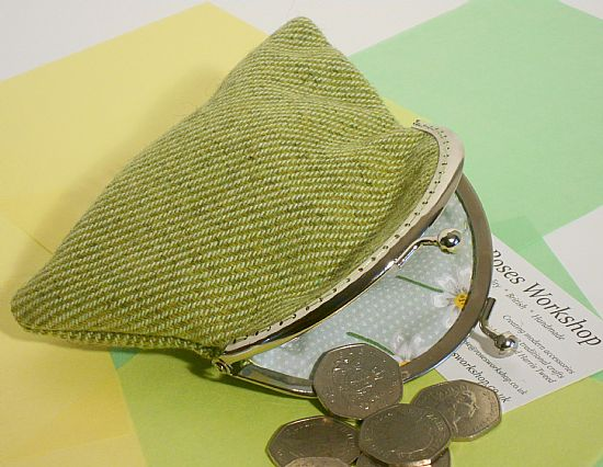 donegal tweed green coin purse by roses workshop
