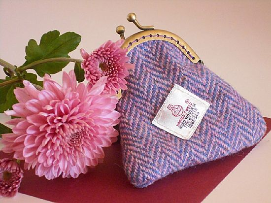 harris tweed coin purse pink herringbone by roses workshop