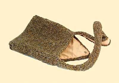 brown knitted bag showing inside