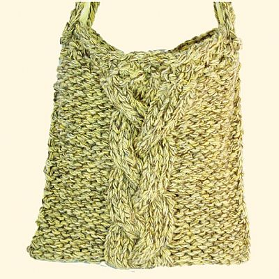 cable design knitted bag yellow wool
