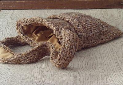 inside of brown wool bag