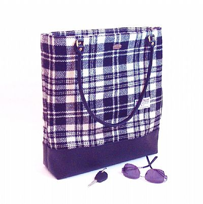 black and white tartan harris tweed bag by roses workshop
