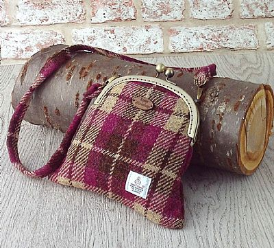harris tweed pink and brown tartan bag by roses workshop