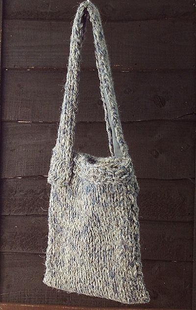 grey blue chunky knit herdwick bag by roses workshop