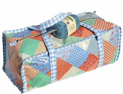 knitting bag in patchwork style vinyl by roses workshop