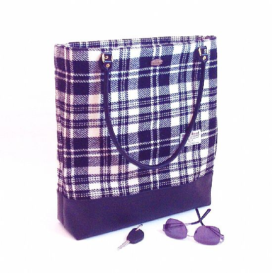 harris tweed black and white plaid bag by roses workshop