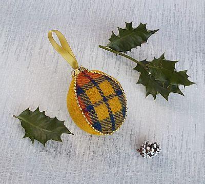 harris tweed yellow tartan christmas decoration by roses workshop
