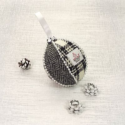 harris tweed black and white christmas tree decoration by roses workshop