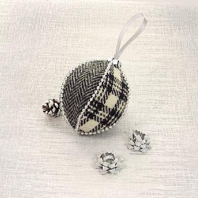 monochrome christmas bauble handmade from harris tweed by roses workshop