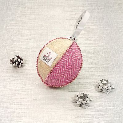 pink tweed christmas decoration by roses workshop