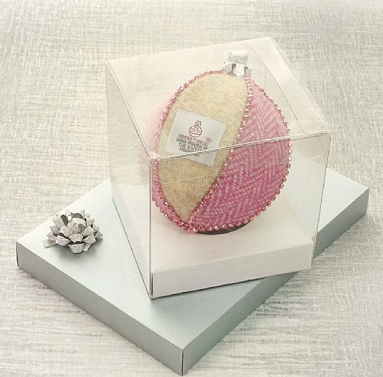 harris tweed fabric bauble pink and cream herringbone by roses workshop