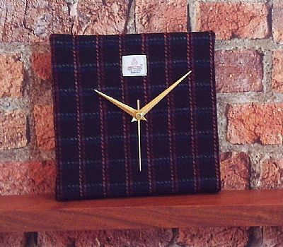 harris tweed clock black with squares by roses workshop