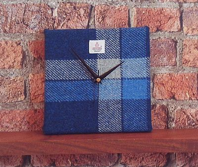 harris tweed square clock blue and white by roses workshop