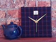 Harris tweed square clock black and bright lines