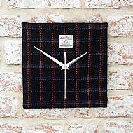 Harris tweed square clock black and bright lines