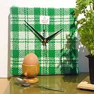 Green and white check Harris tweed square clock