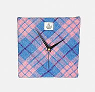 Harris tweed square clock pale pink and blue