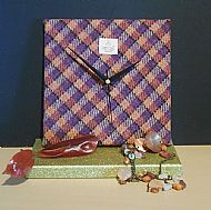 Orange and purple square Harris tweed clock