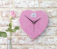 Harris tweed heart clock pink and cream
