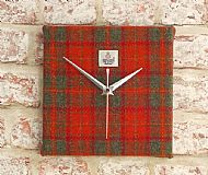 Orange and grey check square clock