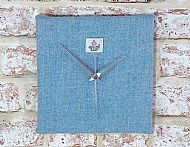Pale blue Harris tweed square clock