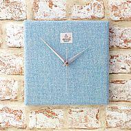 Pale blue Harris tweed square clock