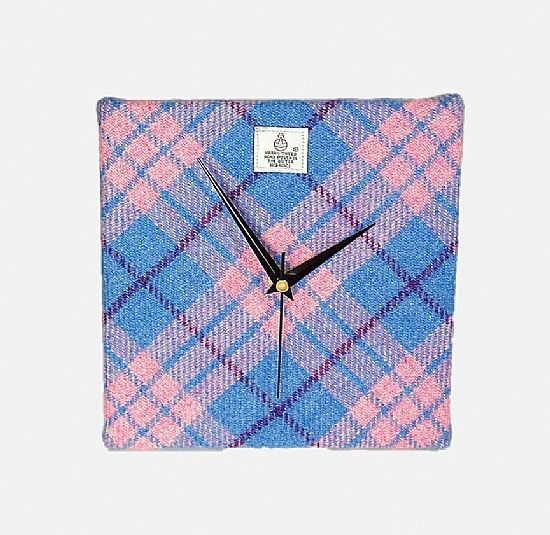 pink and blue check harris tweed square clock by roses workshop