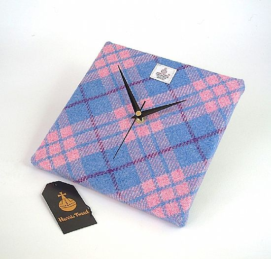 harris tweed clock in pale pink and blue by roses workshop