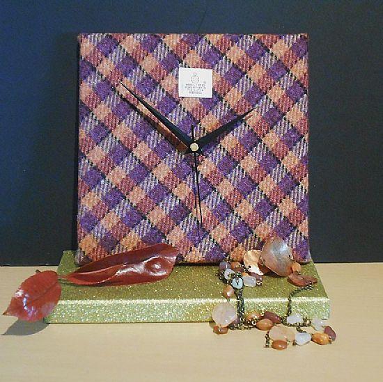 harris tweed square clock orange and purple by roses workshop