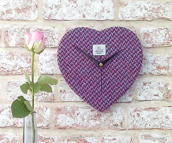 harris tweed heart clock in pink and blue by roses workshop