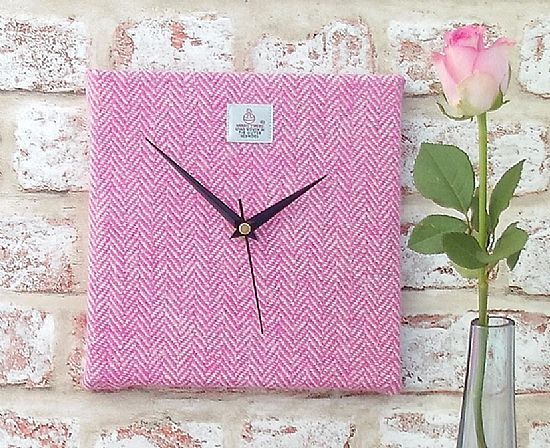 harris tweed square clock in pink and cream by roses workshop
